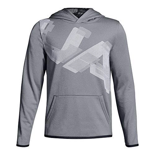 Under Armour Boys Fleece Highlight Printed Hoodie, Steel (035)/White, Youth - Sweatshirt Armour Under Boys