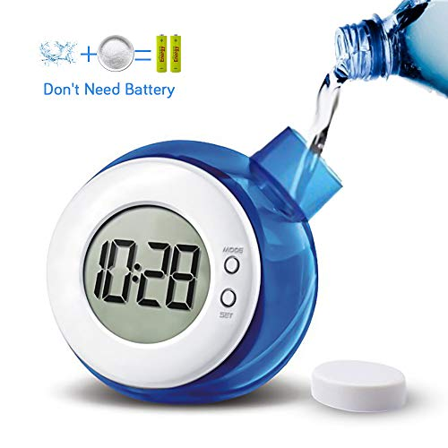 Water Powered Clocks Kids Desk Clock Bedside Night Time Clock Non Ticking for Home Office School Bedroom Gift ()