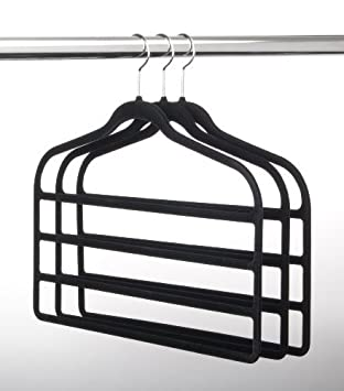 ultraslim velvet 4 bar pant hangers set of 3 black