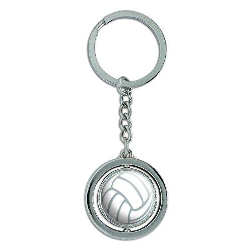 Volleyball Spinning Round Metal Keychain