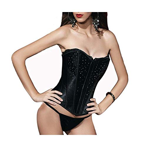 Bodice Satin Corset - Musiclovely Sexy Women's Paillette Satin Corset Bodice