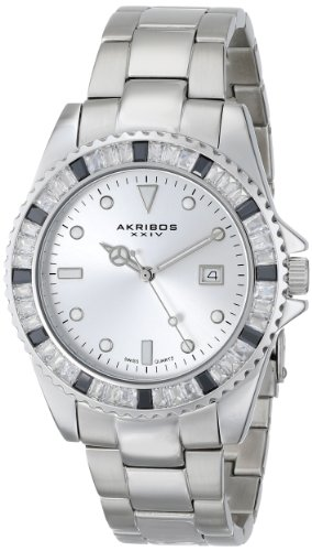 Akribos XXIV Unisex AK702SS Swiss Quartz Black Crystal Stainless Steel Bracelet Watch