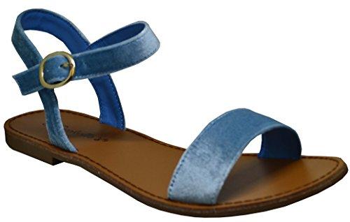 Breckelles Kylee-14 Femme Sandale Plate Noire Taille 10 Bleu