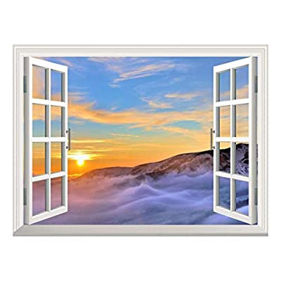 Made For You, Marvelous Creative Design, Removable Wall Sticker Wall Mural Majestic View of Sea of Clouds at Sunrise Creative Window View Wall Decor