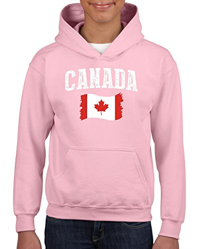 NIB Canada Flag Canadian Unisex Hoodie for Girls and Boys Youth Sweatshirt (MLP) Light Pink -