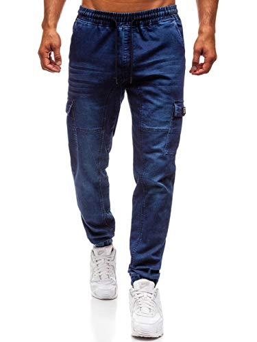 Street Blu Jogger Cerniera Imitazione Con Uomo Da Ombreggiature Coulisse Jeans Stile Nastro y262 Decorativo Bolf Sovraimpunture Della Moda Stemma Di 6f6 wH4nZx4Y