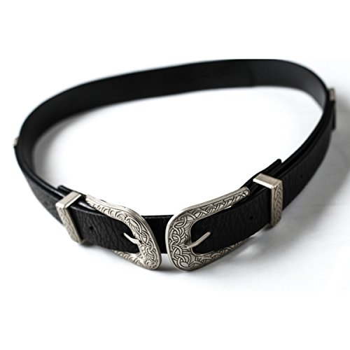 Cinch Belt Leather Soft - Glamaker Women's Weatern Leather Cinch Double Clasp Belt for Dresses Black
