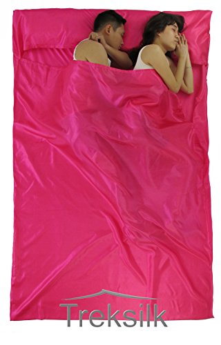 DOUBLE Treksilk HOT PINK ART SILK Liner Sleeping Bag Inner Sheet Hostel Sack Backpack Travel for couple Travel Accessory - Protection Bed Bugs