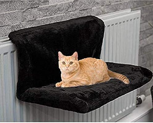ADEPTNA - Cama de radiador de lujo para gatos y gatitos para mascotas (forro polar), color negro: Amazon.es: Hogar