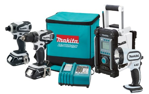 Makita LCT400W 18-Volt Compact Lithium-Ion Cordless 4-Piece Combo Kit