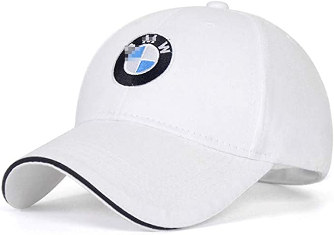 White JS Auto Embroidered Logo Solid Color Adjustable Baseball Caps for Men and Women Travel Cap Racing Motor Hat Fit Mercedes-Benz