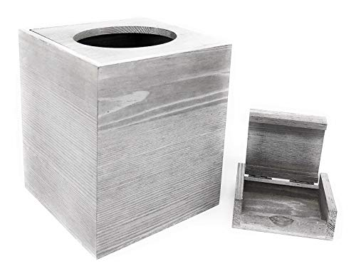 Perimeter Line Rustic Barnwood Gray Cube Tissue Box Cover with Slide-Off Top and Small Trinket Box
