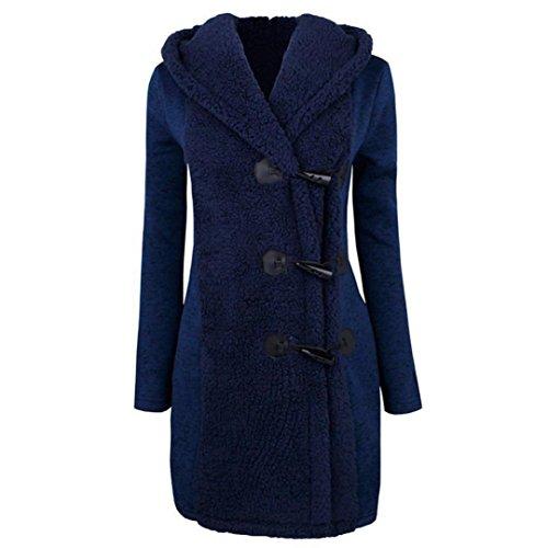 Abrigo grueso para mujeres,QinMM Abrigo de botones cálidos Sudadera con capucha de parka coat Azul