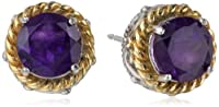 18k Yellow Gold Plated Sterling Silver Two-Tone Round Twisted Stud Earrings from PAJ, Inc