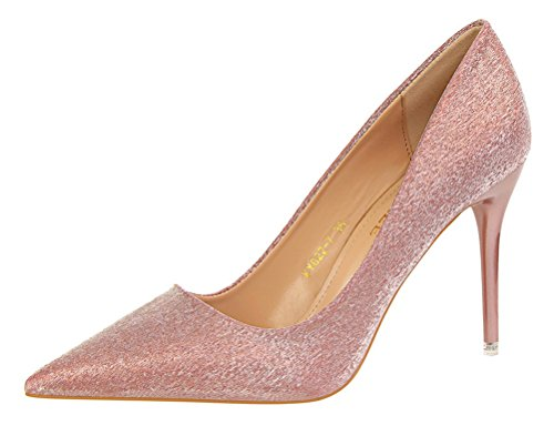 T&Mates Womens Elegant Stiletto Glitter Bling Pointed Toe High Heel Slip On Wedding Pumps Shoes (6 B(M) US,Pink)