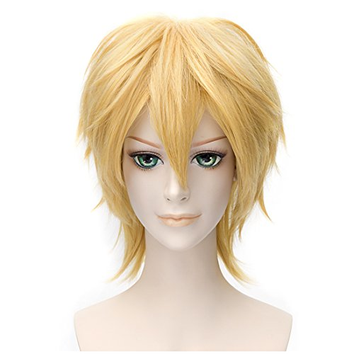 (Alacos Unisex Short Spiky Natural Soft Sexy Daily Party Costumes Synthetic Anime Cosplay Wig + Free Wig Cap)