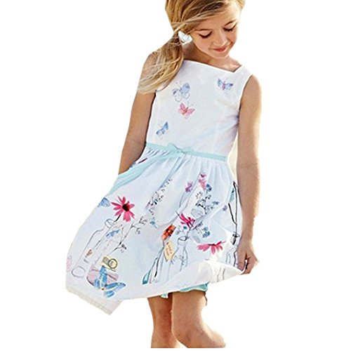Leegor Girls Gorgeous Floral Butterfly Print Dress Fancy Party Princess Dress (4-5Y)