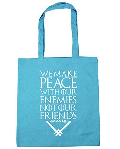 HippoWarehouse Wir Machen Frieden Mit Unserer Feinde Nicht Unser Freunde Spruch Einkaufstasche Fitnessstudio Strandtasche 42cm x38cm, 10 liter - Surfen Blau, One size
