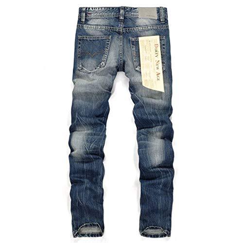 Especial Cher Skinny Retro Fit Estilo Slim Casual Denim Da Blu Cotone Pantaloni Fori Uomo Strappato Vestibilità Straight Jeans In wA14qXzWn
