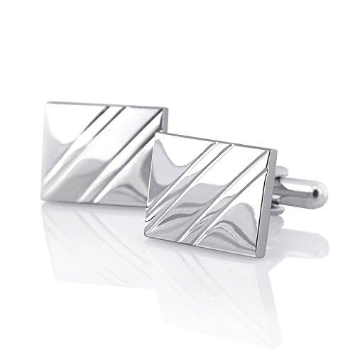 Zodaca Silver Cufflinks with Diagonal Stripes