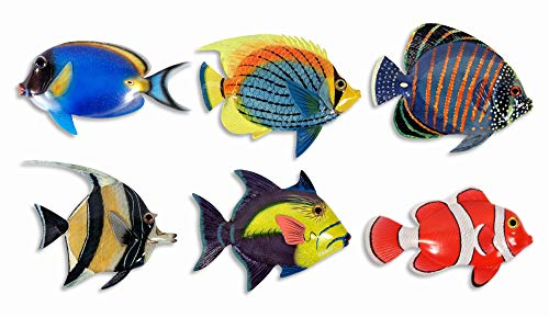 "Handpainted L-B Tropical Fish Replica Wall Mount Decor Plaque 6"" (Set of 6)"
