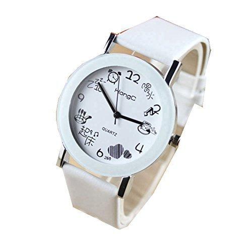 Women Automatic Mechanical Wrist Watch with PU Band (White) - 4