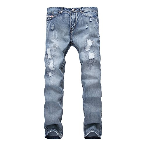 (WEEN CHARM Men's Ripped Pants Distressed Slim Fit Straight Jeans Fashion Ankle Zipper Jeans With Broken Holes,Light Blue01,32W)