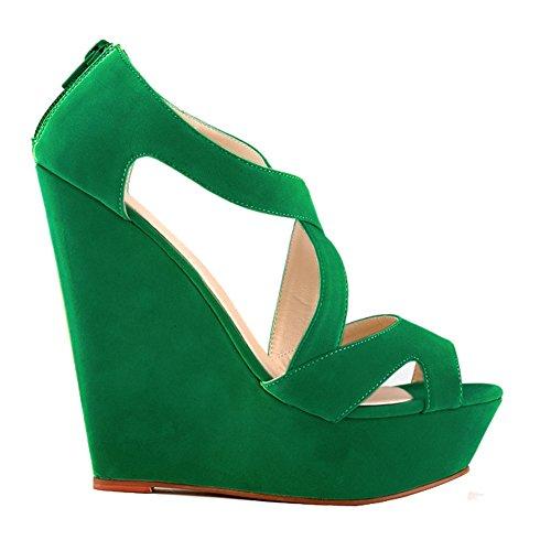 Shoes Peep Velvet Toe Womens Loslandifen Green Platform Sandals Faux Wedges Heels High Wedding SR64q6U