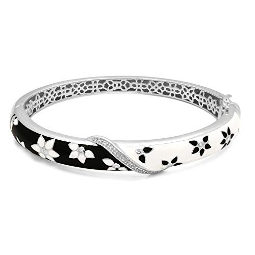- Jewelili Sterling Silver Diamond Accent Enamel Bangle Bracelet, 7 Inch