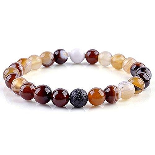 Sterling Tigers Eye Bead Bracelet (Distance Bracelets Tiger Eye's Stone Beaded Healing Energy Balance Beads Unisex 8mm Agate Opalite)