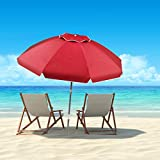 Pure Garden (PURNC) 50-LG1093 Pure Garden Beach Umbrella with 360 Degree Tilt-Portable Outdoor Sun Shade Canopy with UV Protection Sand Anchor, Carrying Case (7 Ft, Red)