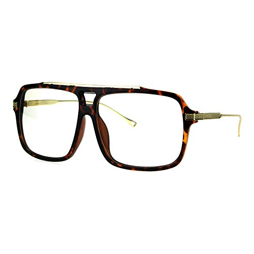 Mens Clear Lens Glasses Trendy Hip Square Frame Eyeglasses UV400 Brown Tort - Hip Eyeglass Frames