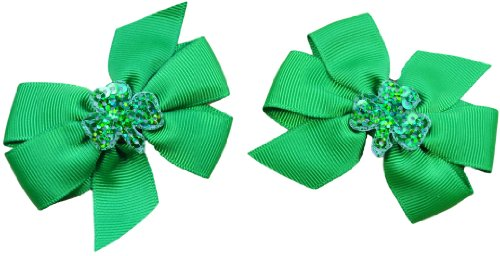 Set of 2 Shamrock St. Patrick's Day Toddler Hair Bows (1.75 inch Alligator Clips (All Hair Types), Emerald) Shamrock Hair Clip