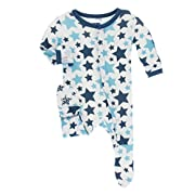 KicKee Pants Little Boys Print Footie with Snaps - Confetti Star, 12-18 Months