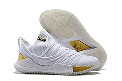 "38ddcf49536 UnderArmour UA Curry 5 ""Gold Pack"" Men's White Gold Basketball Shoes (11 UK"