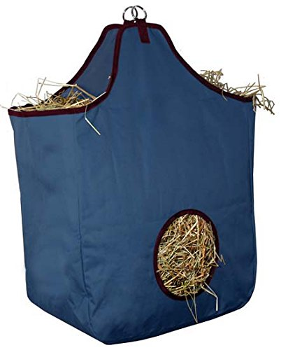 Tack Makers Large Nylon Hay Bag with D Ring, Navy (Nylon Hay Feeder)