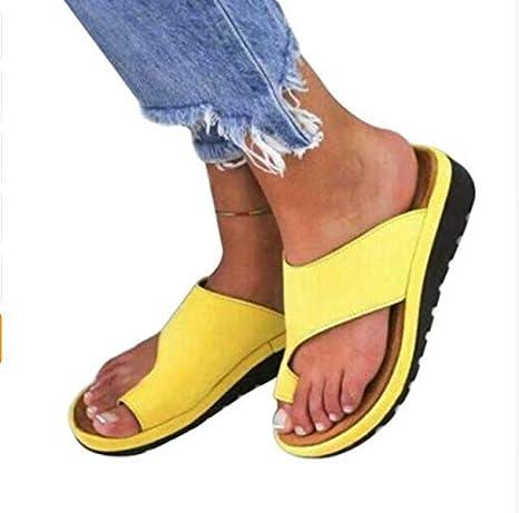 XLBHSH Mujer Chanclas Corrector de Juanetes Corrección Tacón De Cuña Verano Fiesta Chanclas Sandalias Zapatos Chanclas Sandalias De Playa para Interiores al Aire Libre Zapatillas,03,36: Amazon.es: Deportes y aire libre