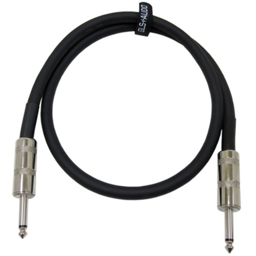 "GLS Audio 3 feet Speaker Cable 12AWG Patch Cords - 3 ft 1/4"" to 1/4"" Professional Speaker Cables Black 12 Gauge Wire - Pro 3"