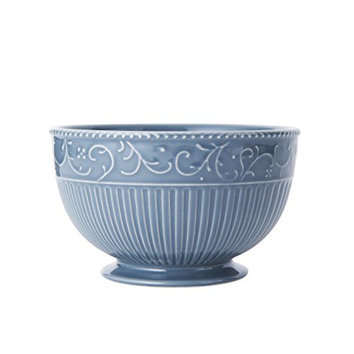 Mikasa Italian Countryside Accents Footed Soup/Cereal Bowl, Scroll Blue - Italian Countryside Soup Bowl