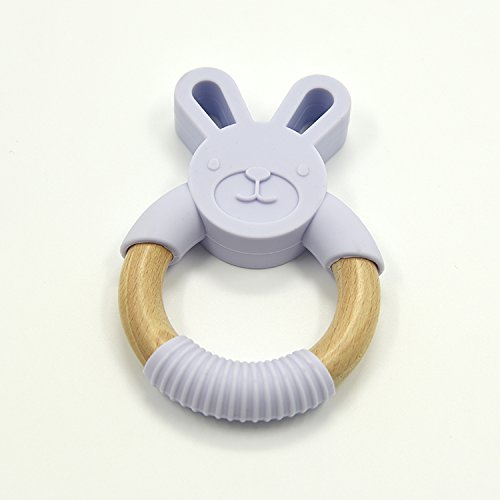 Natural Beech and Silicone Bunny Teething Ring Fun Pink Eco Friendly Promote Fine Motor Skills | Soothe Baby/'s Sore Gums