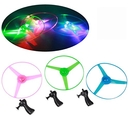 Liping 5PCS Funny Colorful Pull String UFO LED Outdoor Light up Flashing Dragonfly Glow Lights for Party Toys (Random)