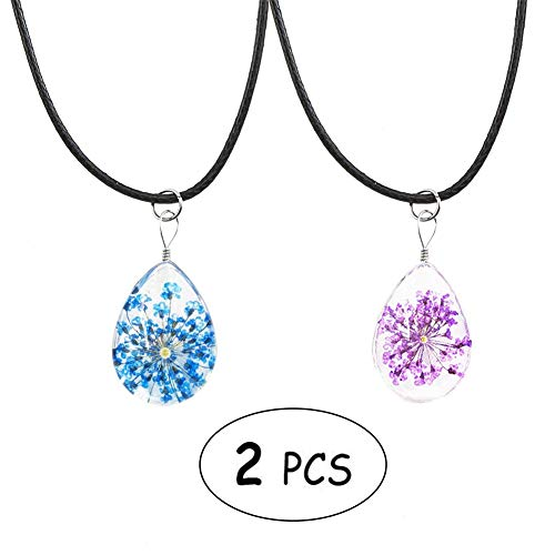 Apol Set of 2 Teardrop Shape Dried Pressed Flower Transparent Glass Pendant Necklace for Girl Women Gift