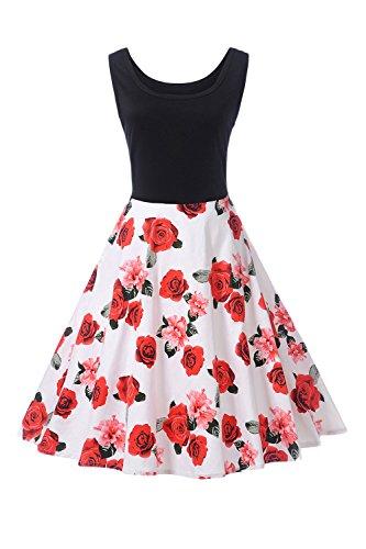YACUN Damen Ist Jahrgang Floral Ärmellose Kleid Cocktail Swing ...