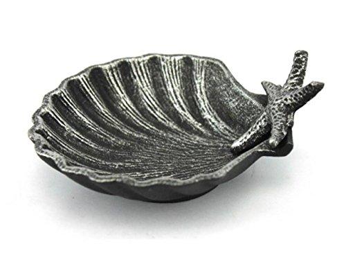 - Hampton Nautical  Cast Iron Shell with Starfish Decorative Bowl, 6