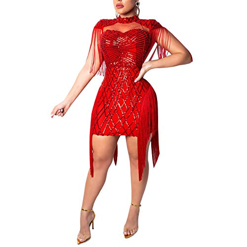 Club Dresses for Women Sleeveless Sheer Mesh Glitter Cocktail Dress Red S