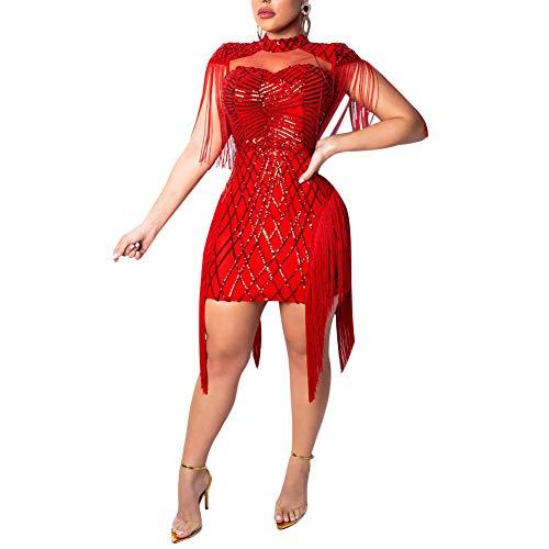 Club Dresses for Women Sleeveless Sheer Mesh Glitter Cocktail Dress Red M