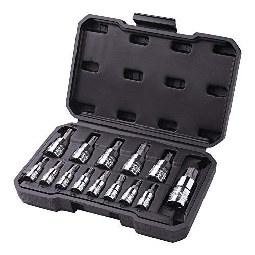 TACKLIFE 14-Piece Torx Bit Socket Set, T8- T60, S2 Steel, CR-V - TBS1A