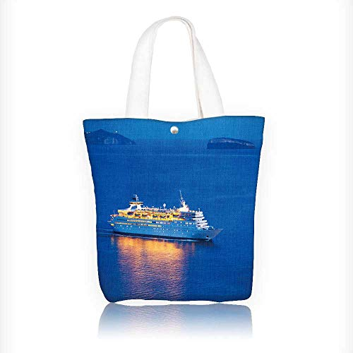 Canvas Tote Bags Luxury Cruise Ship Sailing at Sunset Design
