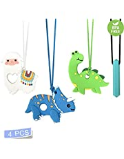 Chew Necklace for Boys & Girls- Dinosour Chewable Silicone Pendant Llama Chewlery for Teething, Autism, Chew Necklaces for Sensory Kids- Made from Food Grade Silicone-Chewy Necklace Sensory(4Pcs)