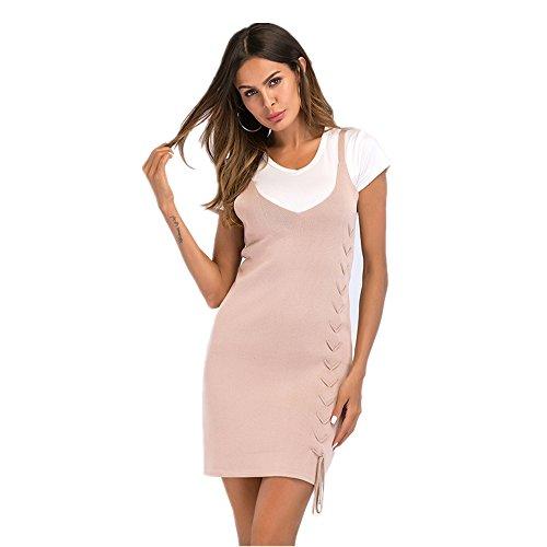Size NEW Strap Dames Forfait Jupe Color pour M Neck Apricot Color Pure V femmes Apricot Hip rr1qOz8
